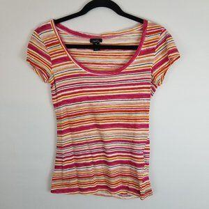 🐧Rue21 Striped Pink and Orange T-Shirt